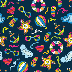 Summer sea holiday background. Vector seamless pattern