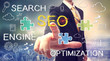 Businessman pointing SEO (search engine optimization)