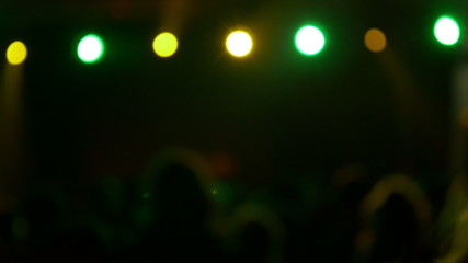 Concert crowd at live music concert, festival, out of focus