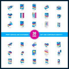 Print service icon set. Stationery, Gift and Corporate identity