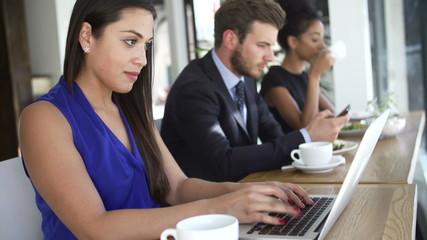 Businesswoman Using Laptop In Coffee Shop