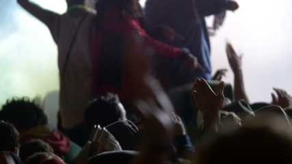 Dancing crowd at party