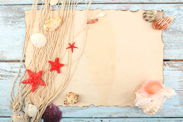 Summer frame with seashells, close-up