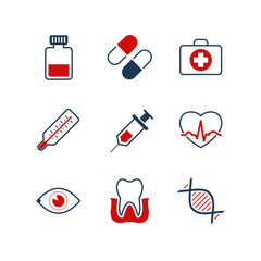 Medicine simple vector icon set