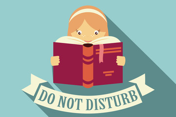 Girl reading a book, do not disturb sign, education