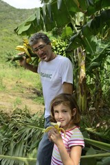 Farmer and daughter in banana plantation