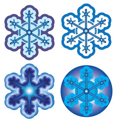 Set of bright snowflakes