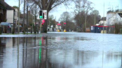 Slow Motion Sequence Of Flood On Road