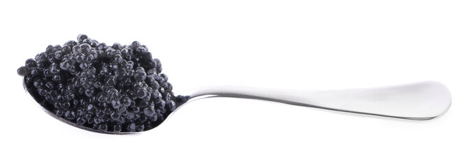 Black caviar in spoon isolated on white