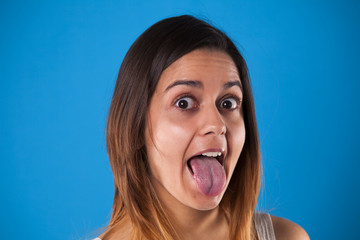 Woman with the tongue out
