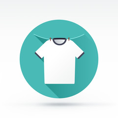 Flat style with long shadows, shirt on the rope vector icon