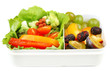canvas print picture - Tasty vegetarian food in plastic box, isolated on white