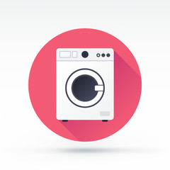 Flat style with long shadows, washing machine vector icon