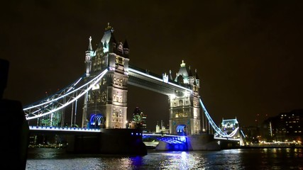 Tower Bridge in London wide night view