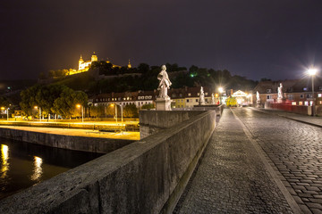 old main bridge in Wuerzburg germany at night