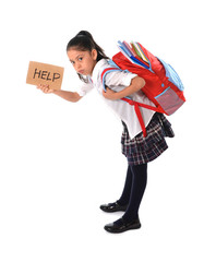 sweet little girl carrying heavy backpack or school bag full