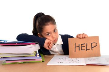 sweet little school girl bored under stress asking for help
