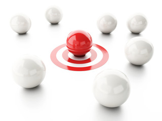 ball on target. business leadership success concept