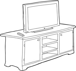 Outlined Cabinet and TV