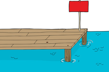 Wooden Dock with Sign