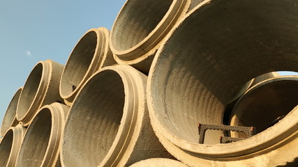 Stacked Concrete Sewer Pipe