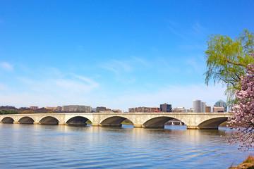 Arlington memorial Bridge during cherry blossom in Washington DC