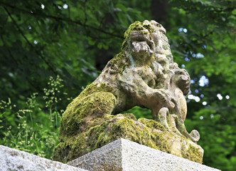 Lion Sculpture in the garden of the castle Konopiste
