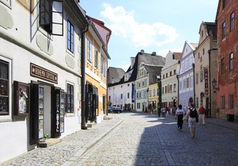 Architecture in historical center of Cesky Krumlov.