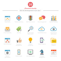 Set of Full Color SEO and Development icons Set 1