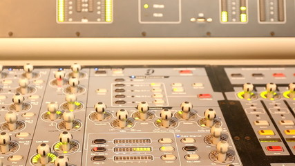 Close up of modern music control panel
