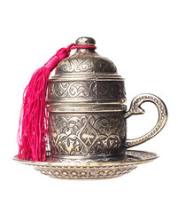 turkish metall coffee cup isolated