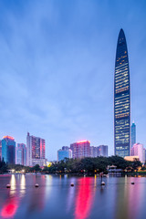 night view of city skyline in shenzhen city
