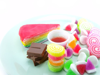 various of sweetmeat on white background