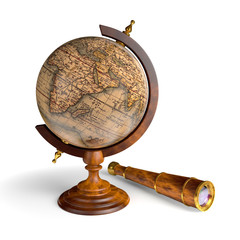 globe and spyglass