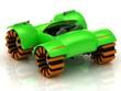 Buggy model with orange wheels