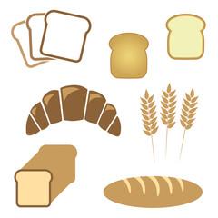 Set of white bread, bakery icons