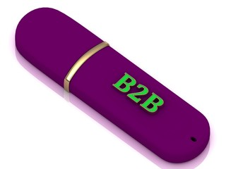 B2B - inscription on lilac USB flash drive