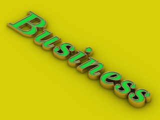 Business - inscription of green golden letters