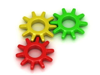 Green, red and yellow gears