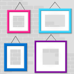 Set Of Photo Frames On A Wall