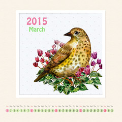 Calendar for march 2015 with bird, watercolor painting