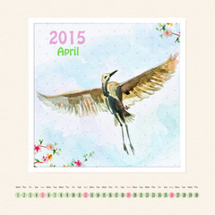 Calendar for april 2015 with bird, watercolor painting