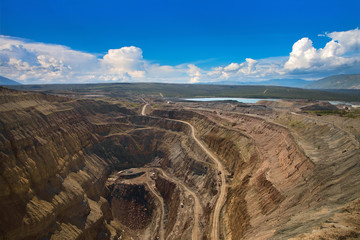 Aerial view to the diamond open mine in Aikhal town, Sakha Yakut