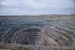 Aerial view to the diamond open mine in Udachny town, Sakha Yaku