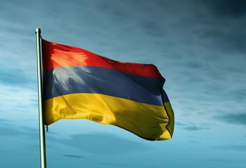 Armenia flag waving on the wind