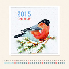 Calendar for december 2015 with bird, watercolor painting