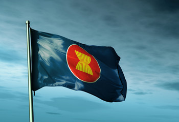 ASEAN flag waving on the wind