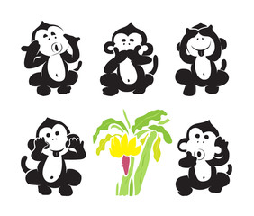 Vector group of monkeys and bananas
