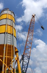 Large Cement Silo and Crane