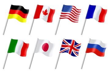Drapeaux des pays membres du G8